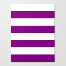 Wide Horizontal Stripes - White and Purple Violet Canvas Print