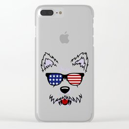 Westie Dog Face with American Flag Sunglasses Clear iPhone Case