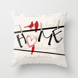 Home Letters Red Bird Clothesline A712 Throw Pillow
