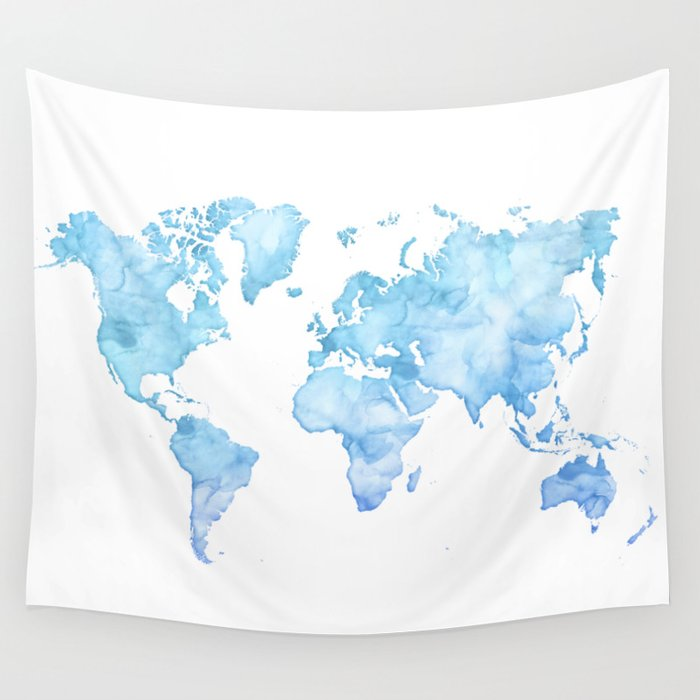 Light blue watercolor world map Wall Tapestry by blursbyaishop