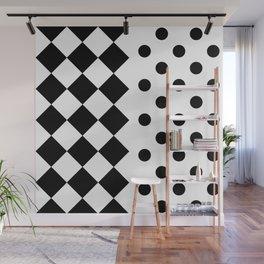 RHOMBUSES & POLKA DOTS (BLACK-WHITE) Wall Mural