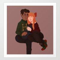 winter cuddles Art Print