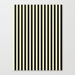 Cream Yellow and Black Vertical Stripes Canvas Print