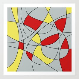 Lines Red Yellow Art Print