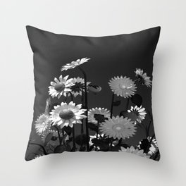 Black and white big flowers  Throw Pillow