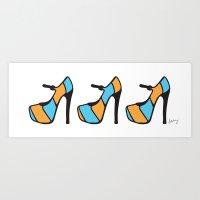 High Heel Parade - Blue & Orange Art Print