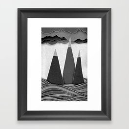 Clouds. Mountains. Water. (black and white) Framed Art Print