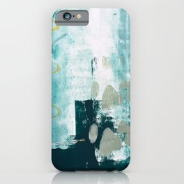 023.2: a vibrant abstract design in teal green and yellow by Alyssa Hamilton Art  iPhone Case