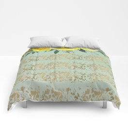 Mint green yellow gold watercolor geometrical floral Comforters