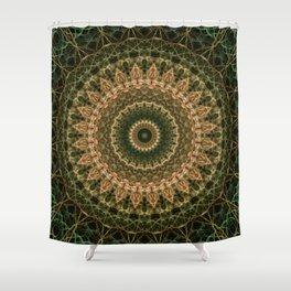 Green and golden mandala Shower Curtain