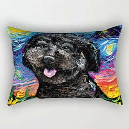 Black Poodle Night 4 Rectangular Pillow