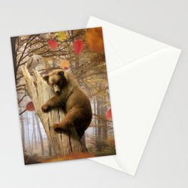 Brown bear climbing on tree Stationery Cards