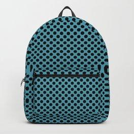 Aquamarine and Black Polka Dots Backpack