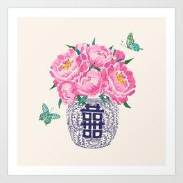 peony bouquet in ginger jar/cream Art Print