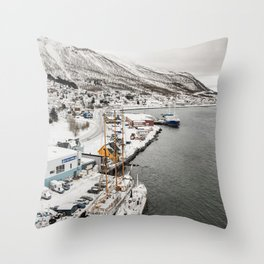 Boats in Tromsø in Northern Norway, Above the Arctic Circle Throw Pillow