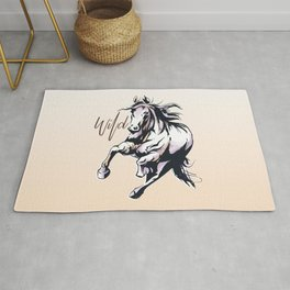 Wild horse watercolour Rug
