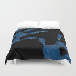 Blue Heart Hand Prints Duvet Cover