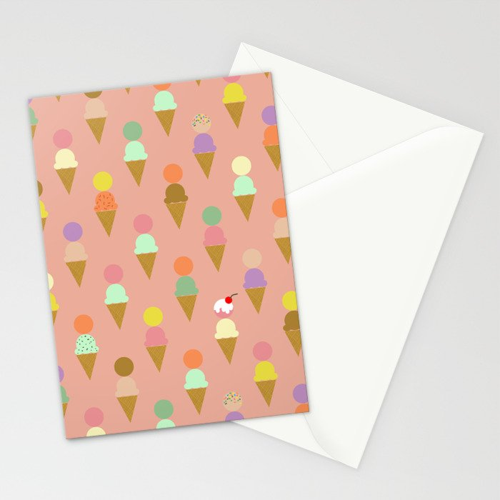 Ice Cream Cone Pattern Pink Robayre Stationery Cards