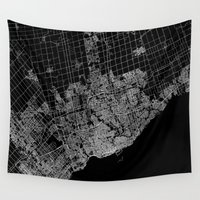 toronto Wall Tapestries featuring toronto map by Line Line Lines
