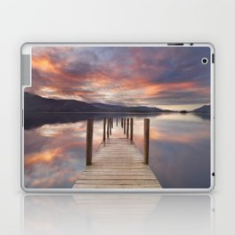 Flooded jetty in Derwent Water, Lake District, England at sunset Laptop & iPad Skin