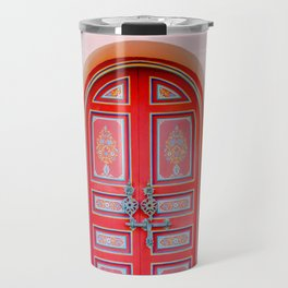 Exotic Red Door with Pink Marakkech Morocco Travel Mug