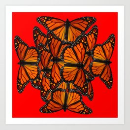 MONARCH BUTTERFLIES INK DRAWING SOCIAL IN RED Art Print