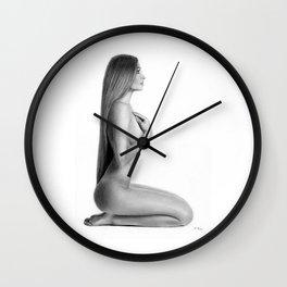 Nude Woman Drawing Wall Clock