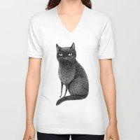 black cat V-neck T-shirts featuring Black Cat by Sophie Corrigan