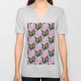 Les papillons de l'amour arc en ciel Unisex V-Neck