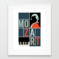 mozart Framed Art Prints featuring Mozart  by Prelude Posters