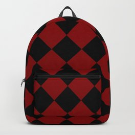Red and Black Diamond Check Backpack