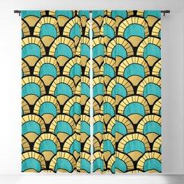Duck Egg Green Art Deco Fan Pattern Blackout Curtain
