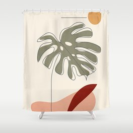 Minimal Line Monstera Shower Curtain