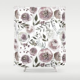 dusty rose floral watercolor Shower Curtain
