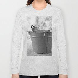 Songbird (Great Tit) on Autumn Day Black and White #decor #society6 #buyart Long Sleeve T-shirt