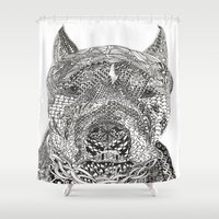 pitbull Shower Curtains featuring  American Pitbull Terrier by DiAnne Ferrer