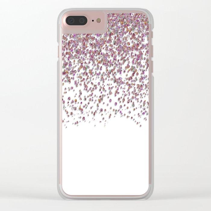 Sparkling rose quartz glitter confetti- Luxury design Clear iPhone Case