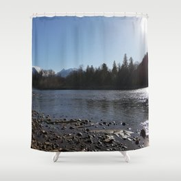 Sun reflections at Squamish River Shower Curtain