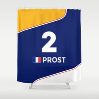 f1 Shower Curtains featuring F1 Legends - Alain Prost [Williams] by MS80 Design