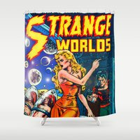 guardians of the galaxy Shower Curtains featuring STRANGE TALES - GALAXY GUARDIANS - REDUX by PD POP ART