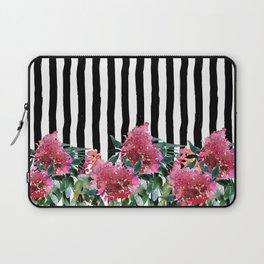 Black white brushstrokes pink watercolor floral stripes Laptop Sleeve