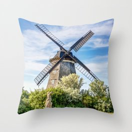 Typical Dutch windmill in Benz on Usedom island Throw Pillow