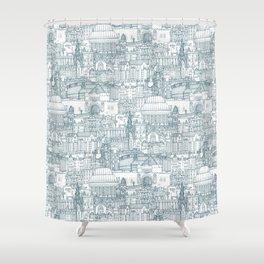 Edinburgh toile denim white Shower Curtain