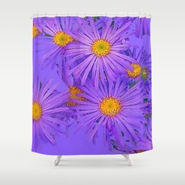 LAVENDER PURPLE ASTER FLOWERS ART Shower Curtain