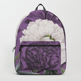White Peony Purple Collage Backpack