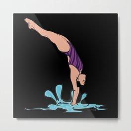 Diving Diver Metal Print