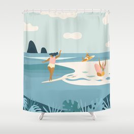 Wave Sisters Shower Curtain
