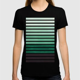 Watercolor Gouache Mid Century Modern Minimalist Colorful Deep Green Stripes T-shirt