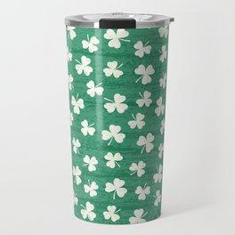 DANCING SHAMROCKS on green Travel Mug