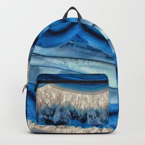 Blue agate slice wave Backpack